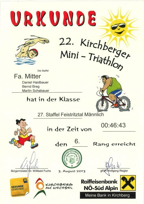 Urkunde mini tria. 2013