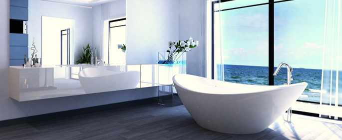 Luxuriöses Badezimmer in blau